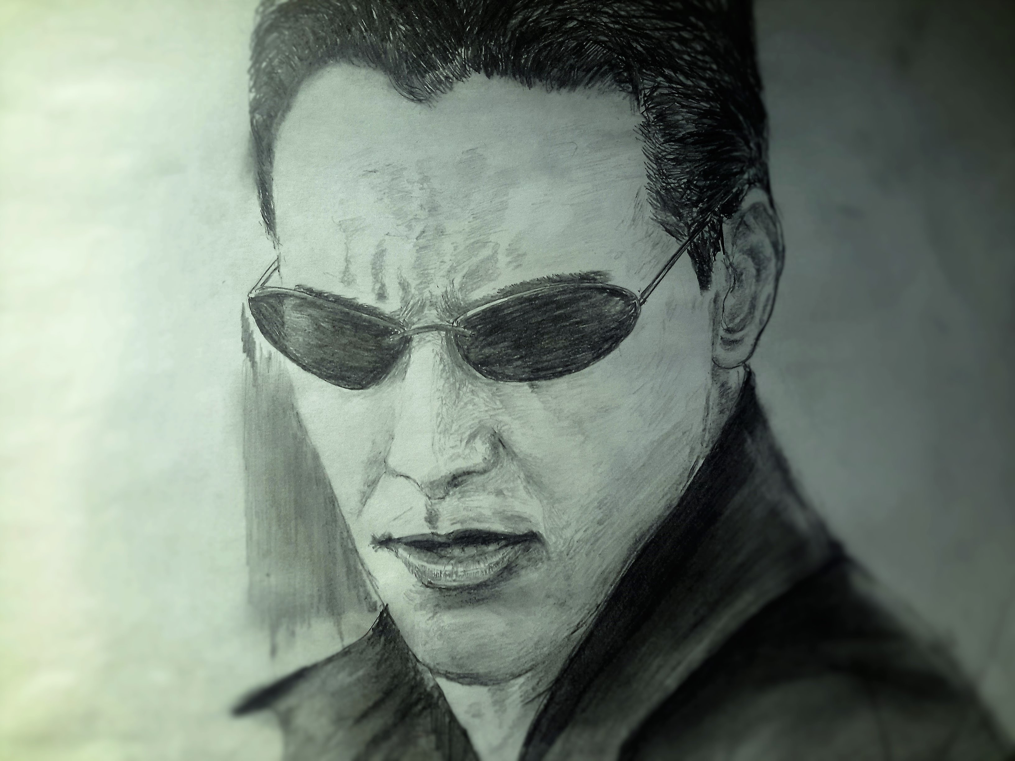3264x2448 Drawing Keanu Reeves As Neo From The Matrix 1999