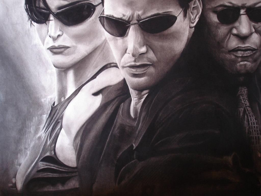 1024x768 The Matrix Charcoal Drawing By Cardman