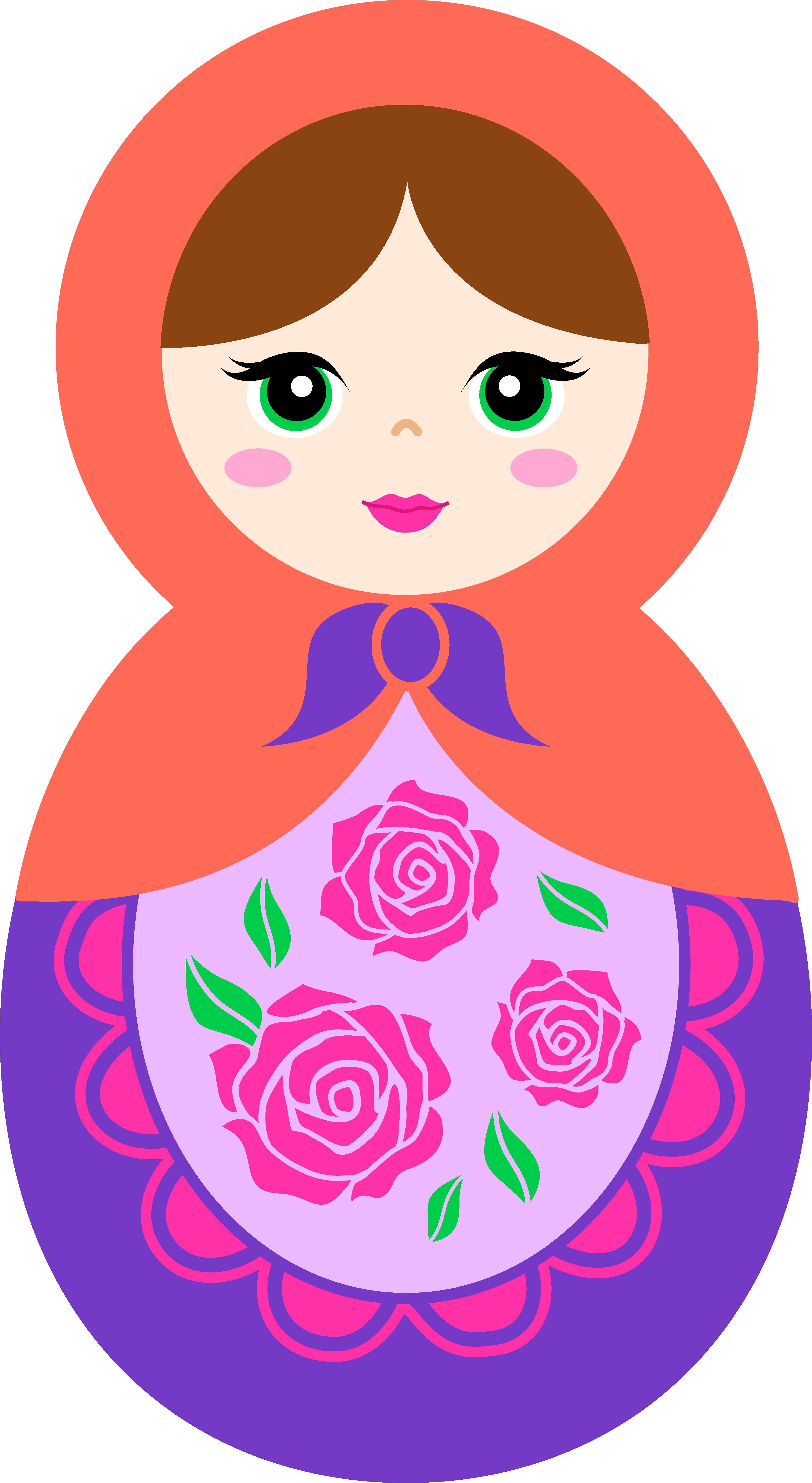 3863x7051 Cute Orange And Purple Matryoshka Doll