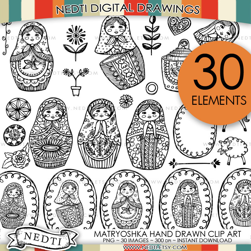 800x800 Printable Russian Nesting Dolls Coloring Page Digital File