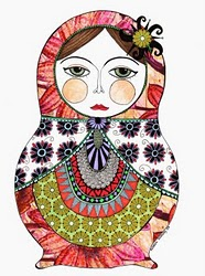 186x250 Very Cool Folk Art Piece. Russian Nesting Doll. Drawing. Painting