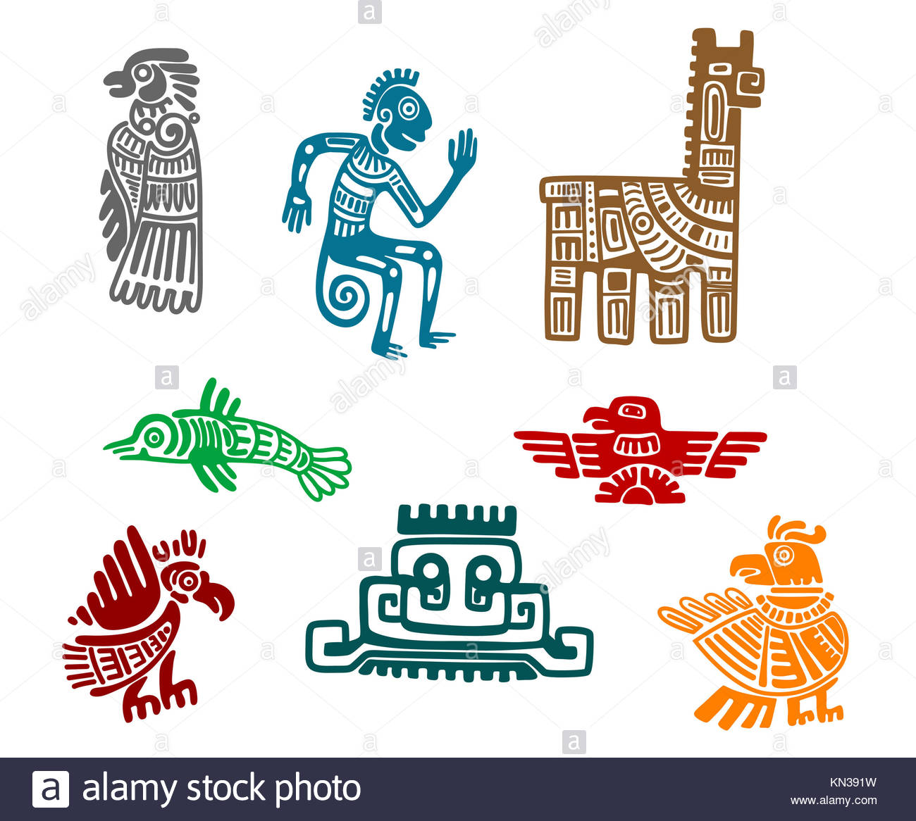 1300x1166 Aztec And Maya Ancient Drawing Art Isolated On White Background