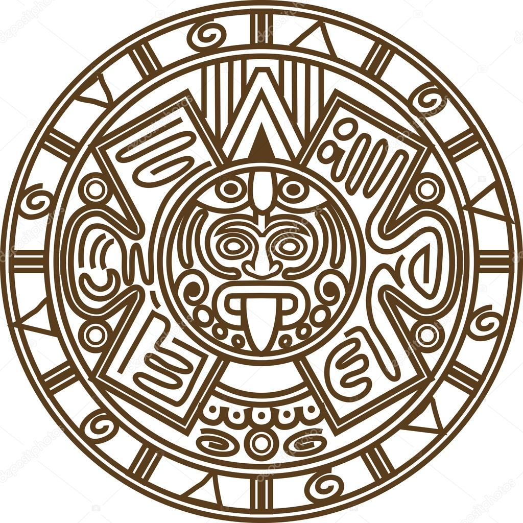 1024x1024 Mayan Calendar Vector. Stock Vector Hillway