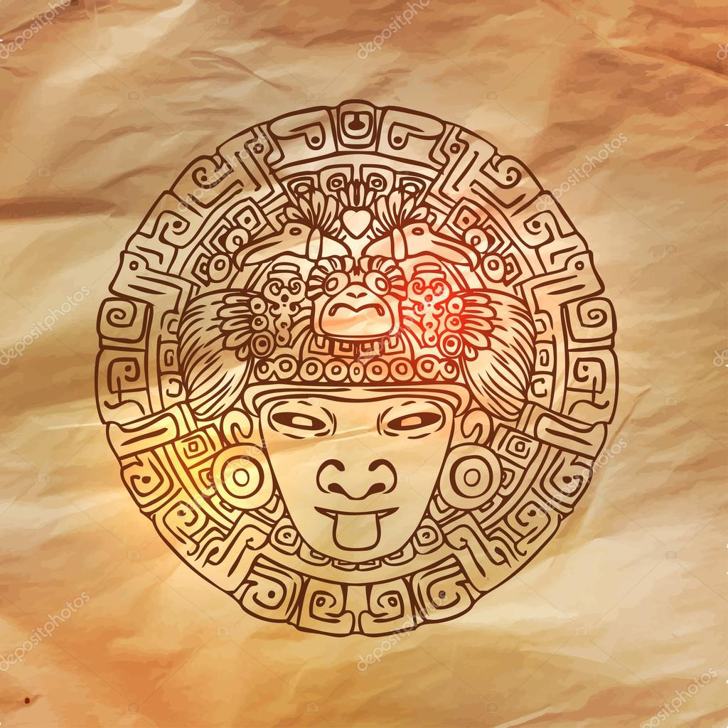 1024x1024 Vintage Adventures Mayan Calendar Stock Vector Vgorbash
