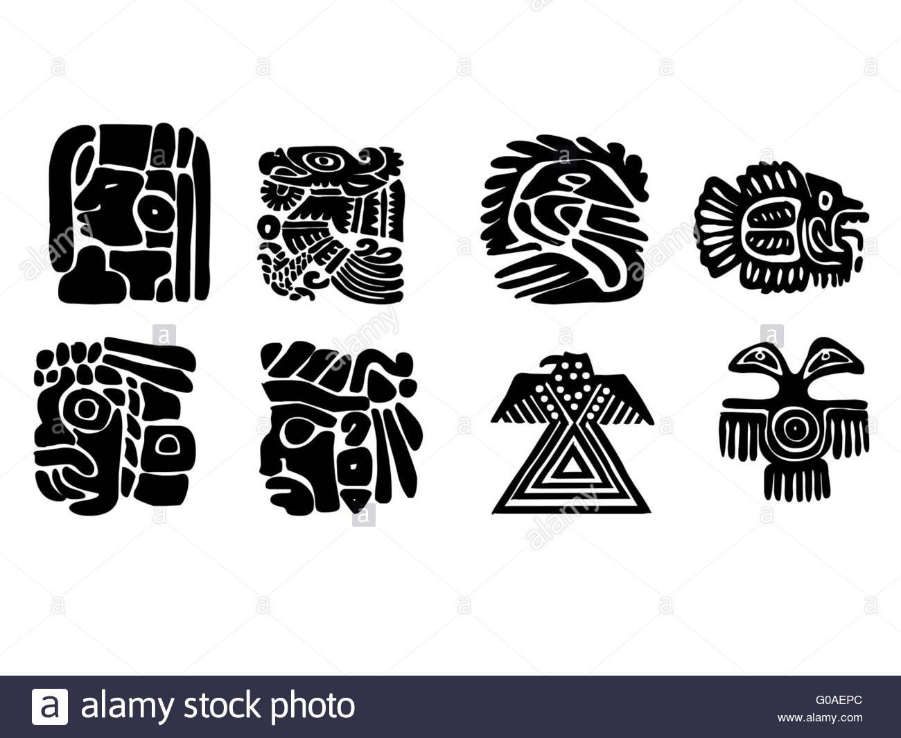1300x1065 Maya Patterns. Black And White Drawings Stock Photo 103493332