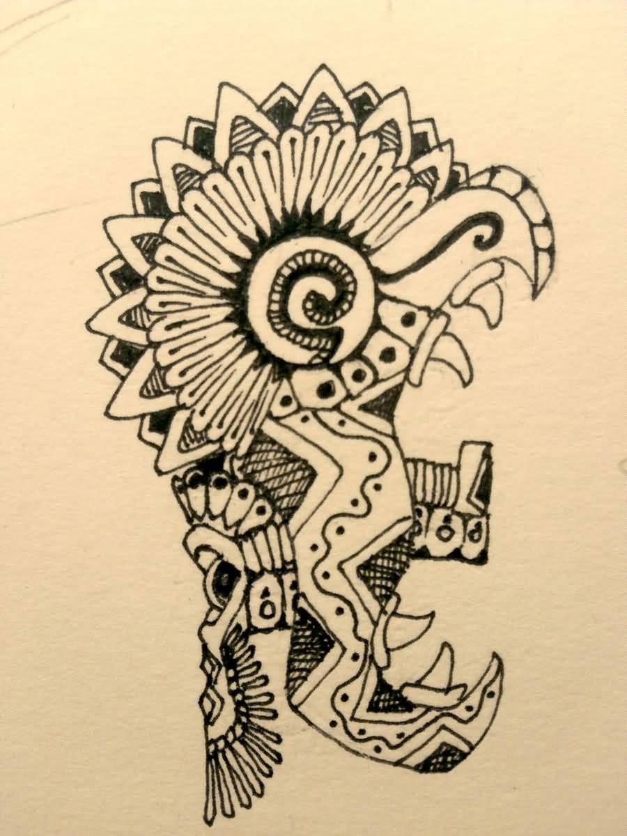900x1200 Mayan Tattoo Drawing By Burke5