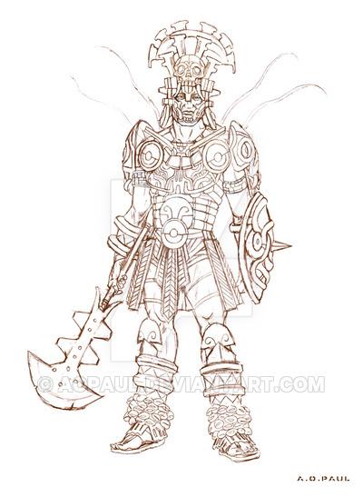 400x547 Mayan Warrior. Light Class. By Aopaul