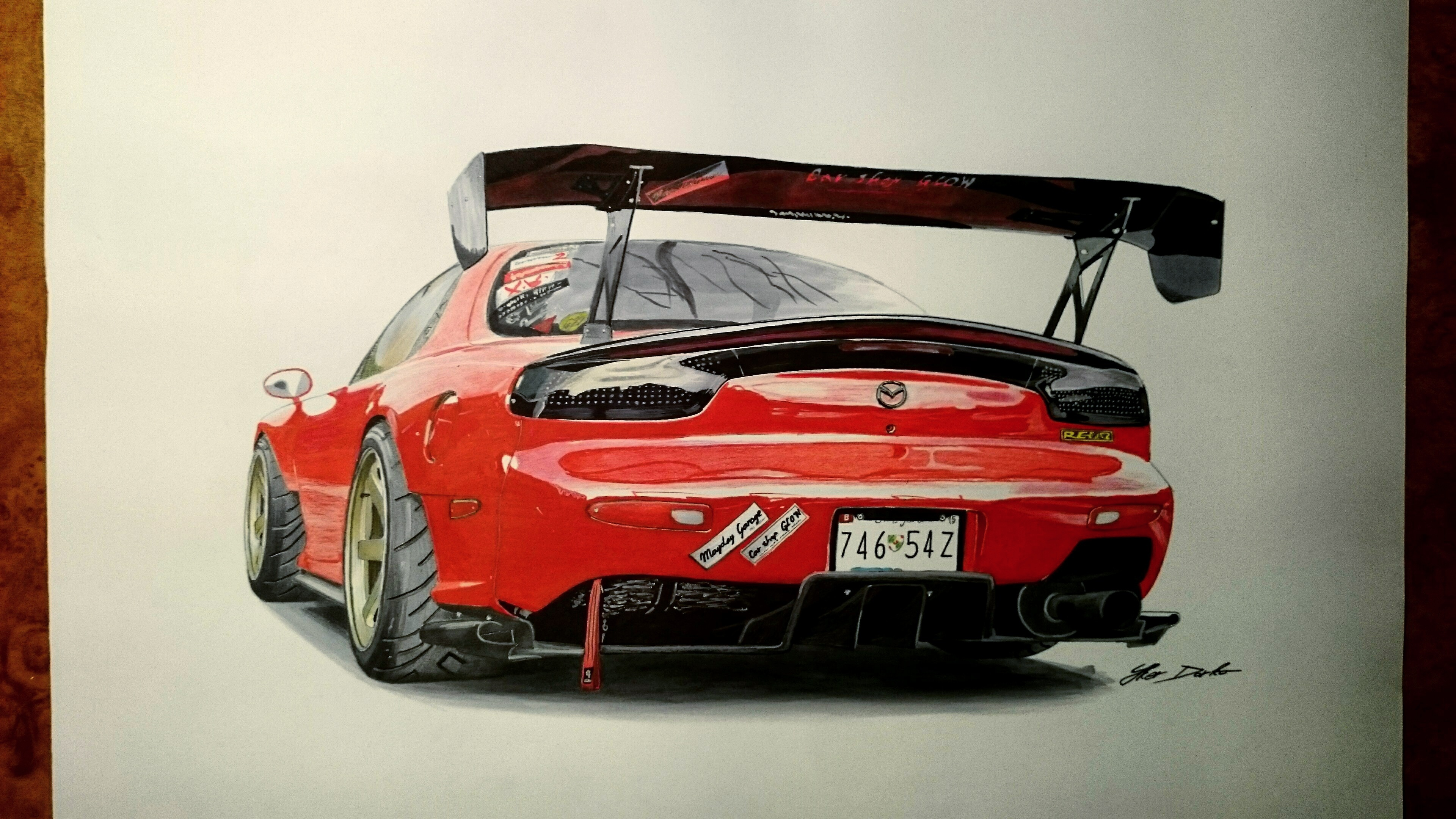 3840x2160 Mazda RX 7, 7 Hours Of Work, Fb Page Car Drawings By Iker