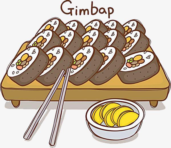 600x518 Gimbap Hand Drawing, Sushi, Delicious Food, Hand Png Image