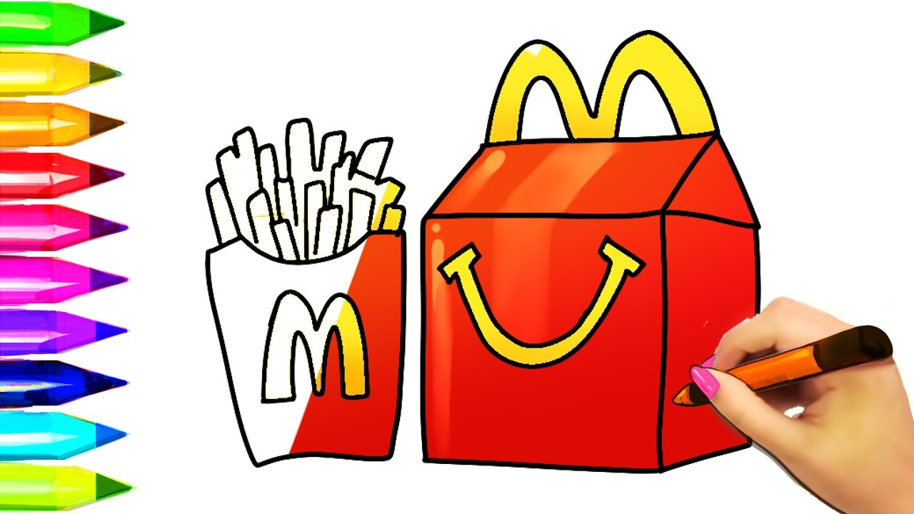 1280x720 How To Draw Mcdonald's Burger And Fries Kids Happy Meal Learn