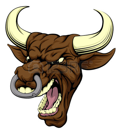 407x450 An Aggressive Tough Mean Red Bull Sports Mascot Character Royalty