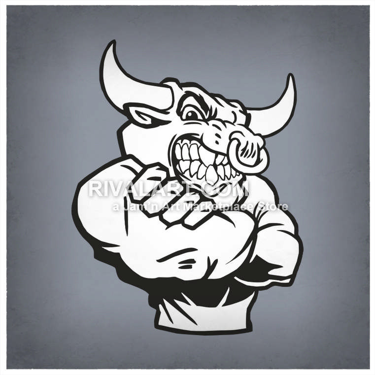 761x761 Bulls Mascot With Arms Crossed Mean Nose Ring Graphic Black White