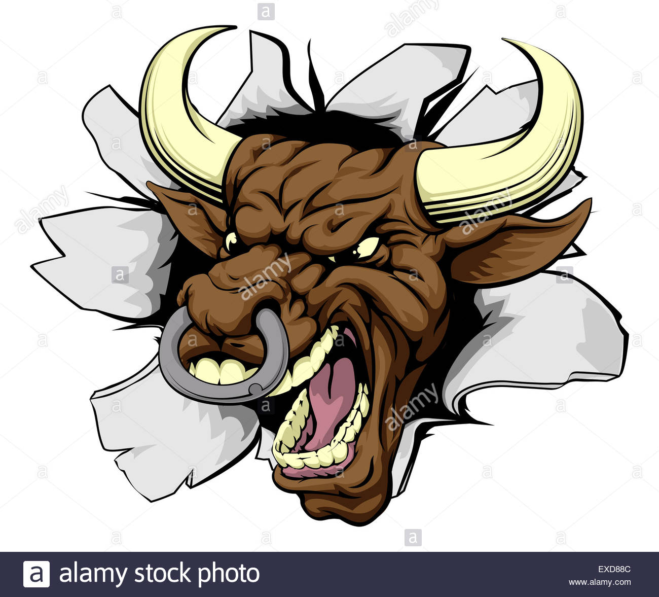 1300x1177 Mean Bull Breakout Drawing Of A Tough Angry Bull Character Stock