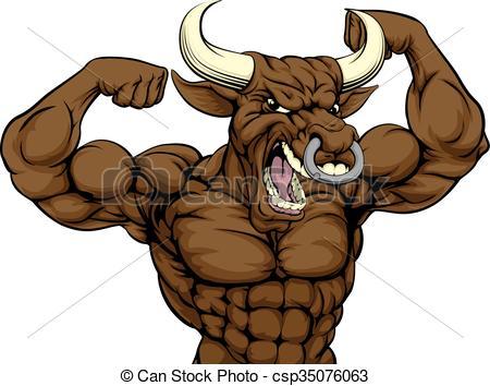 450x354 Mean Bull Sports Mascot. Cartoon Mean Strong Bull Sports Clip