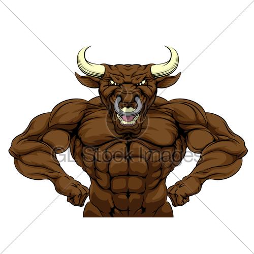 500x500 Tough Bull Mascot Gl Stock Images