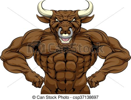 450x344 Tough Bull Mascot. Cartoon Tough Mean Strong Bull Sports Eps