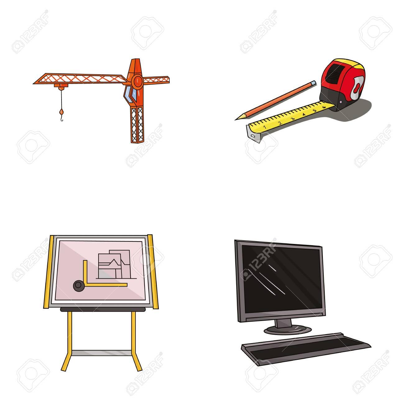 1300x1300 Construction Crane, Measuring Tape Measure, Drawing Board