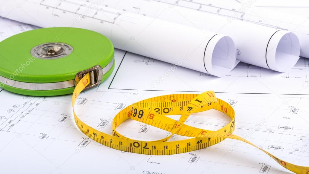1024x576 Measuring Tape And Plan Drawing Stock Photo Lookaod