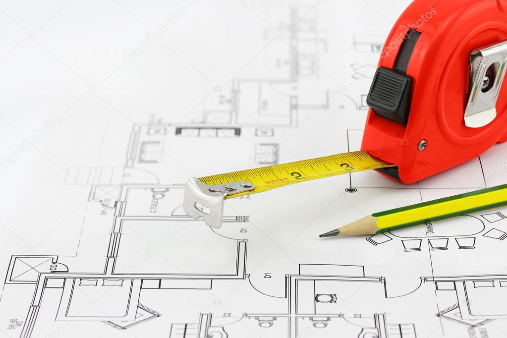 1023x682 Tape Measure And Pencil Over A Construction Plan Drawing Stock