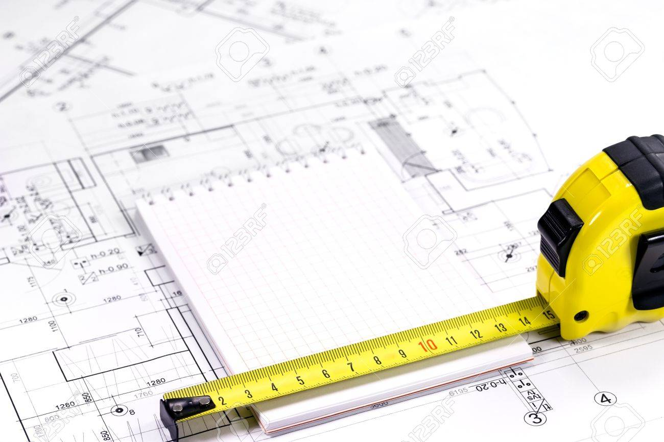 1300x866 Yellow Tape Measure On Architectural Drawing Stock Photo, Picture