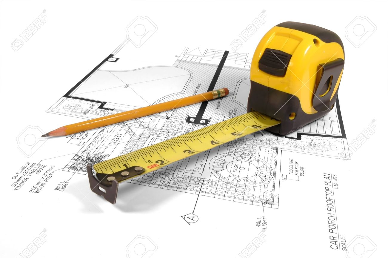 1300x864 A Measuring Tape And A Pencil Over A Construction Drawing