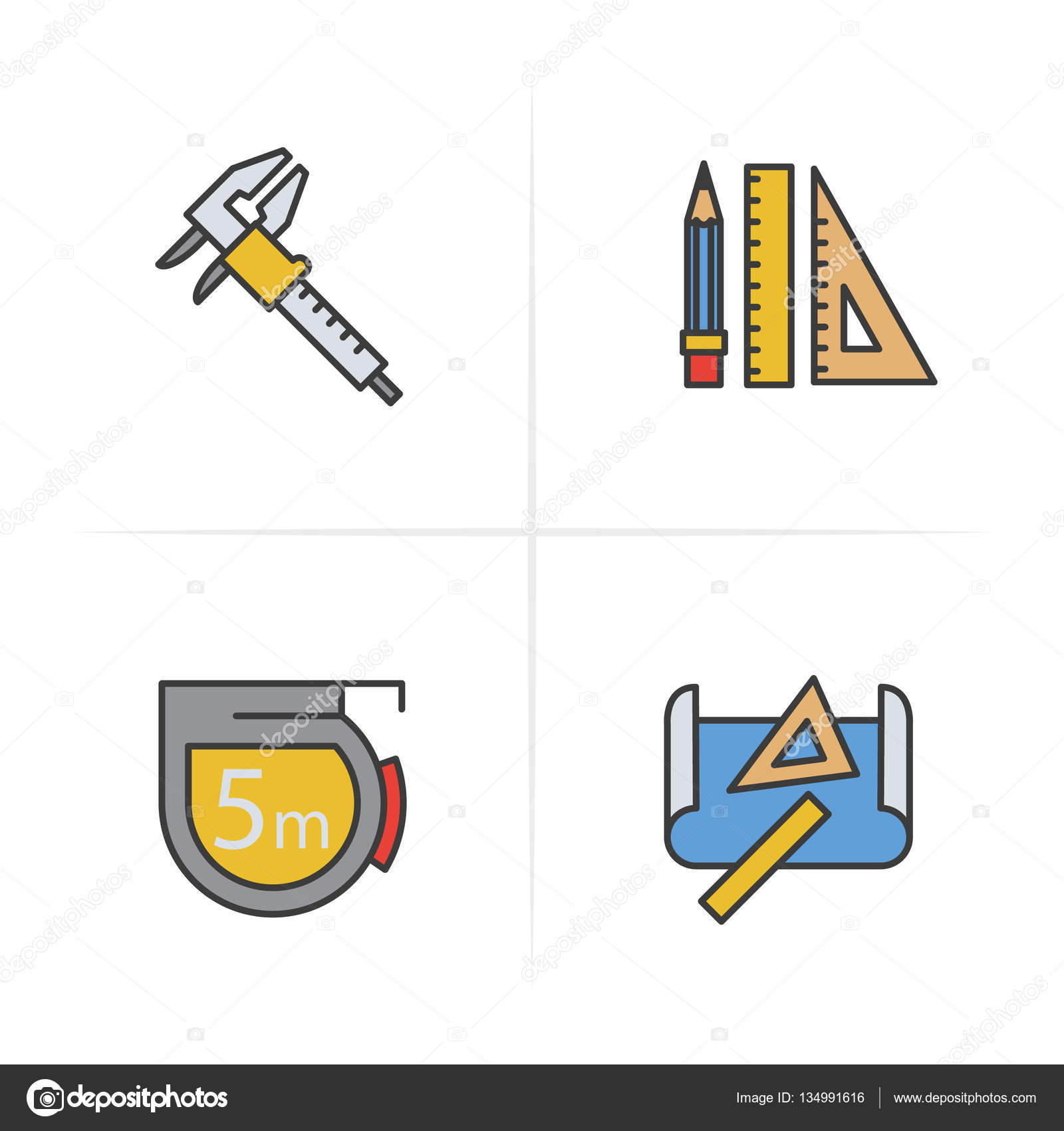1600x1700 Engineering Color Icons Set. Caliper, Pencil And Ruler, Measuring