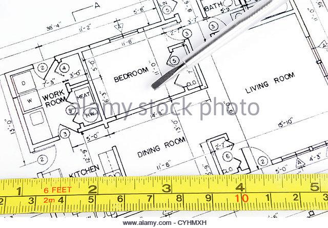 640x445 House Blueprint Measuring Tape Screwdriver Stock Photos Amp House