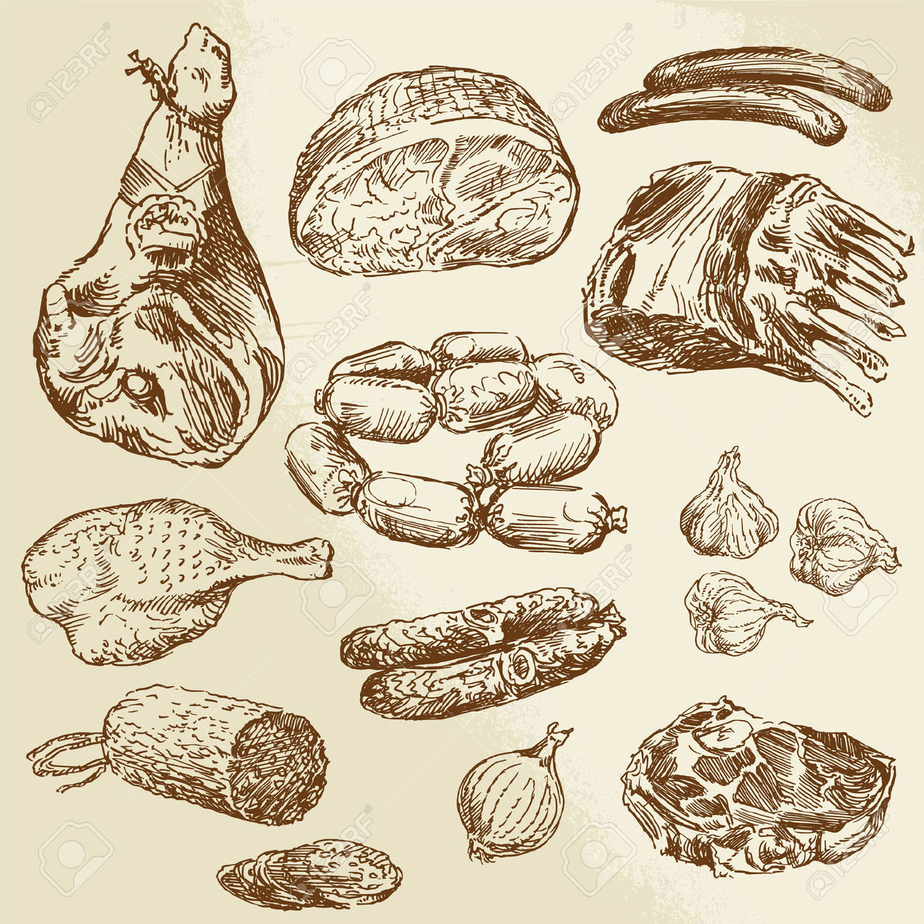 1300x1300 26590661 Meat Hand Drawn Collection Stock Vector Ham.jpg (1300