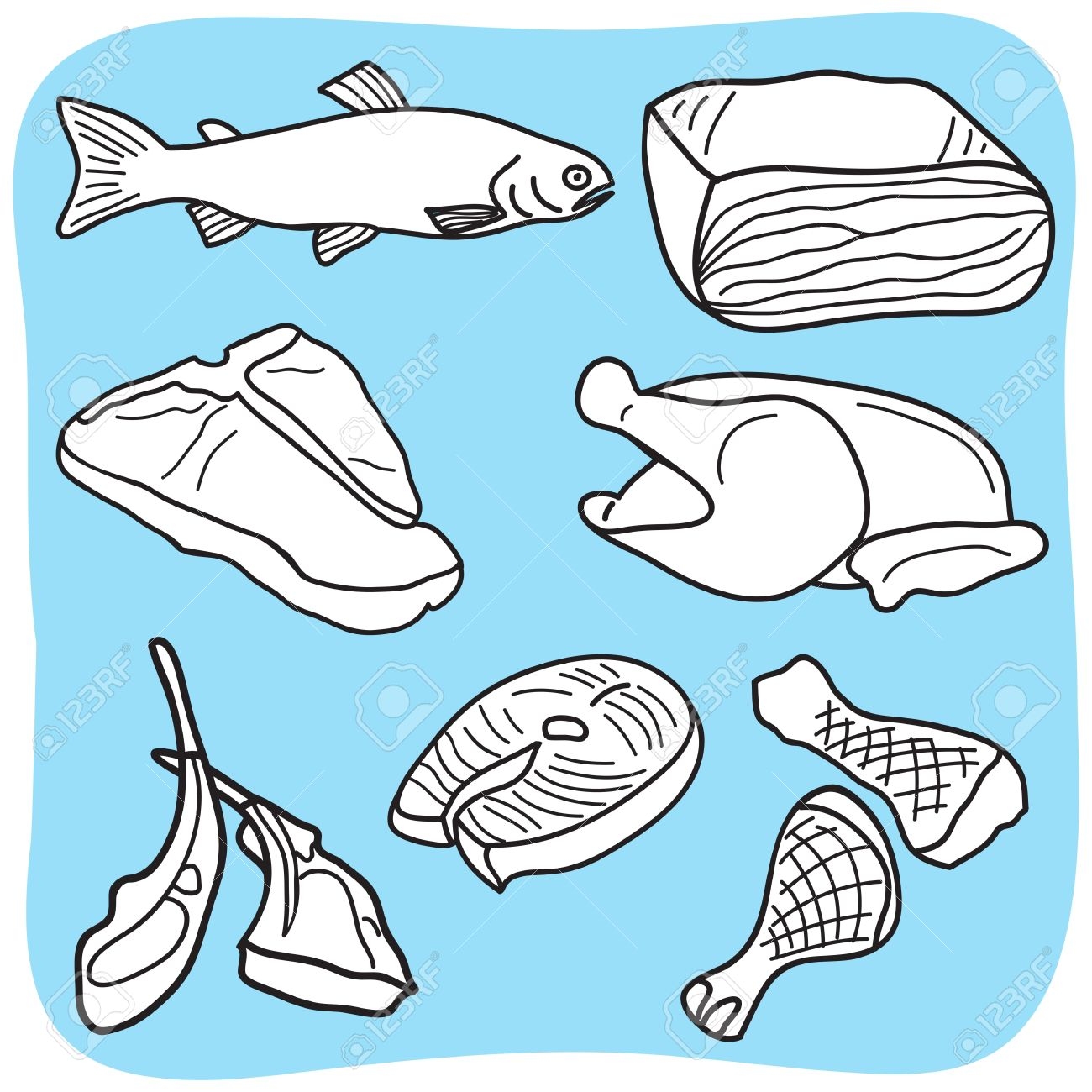1300x1300 Drawing Of Meat, Fish And Poultry