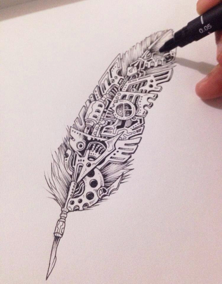 750x960 Great Much Details, Clear Drawing, Catchy. Feather Meets Mechanic