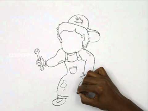 480x360 How To Draw A Cartoon Mechanic