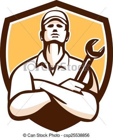 387x470 Mechanicrms Crossed Wrench Shield Retro. Illustration