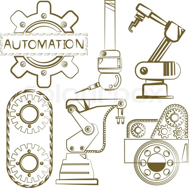 800x797 Automation, Sketch Robotic Sign Stock Vector Colourbox
