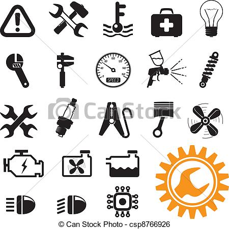 450x451 Green Energy Icons. Car Mechanic And Service Tools, Icon Set Clip