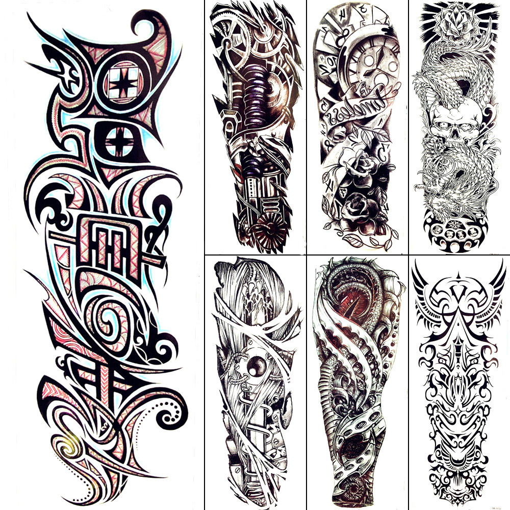 1000x1000 Black Totem Temporary Tattoo Men Cool Mechanical Arm Art Drawing