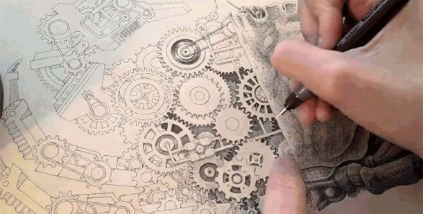 610x309 Watch This Man Make Incredibly Detailed Mechanical Drawings