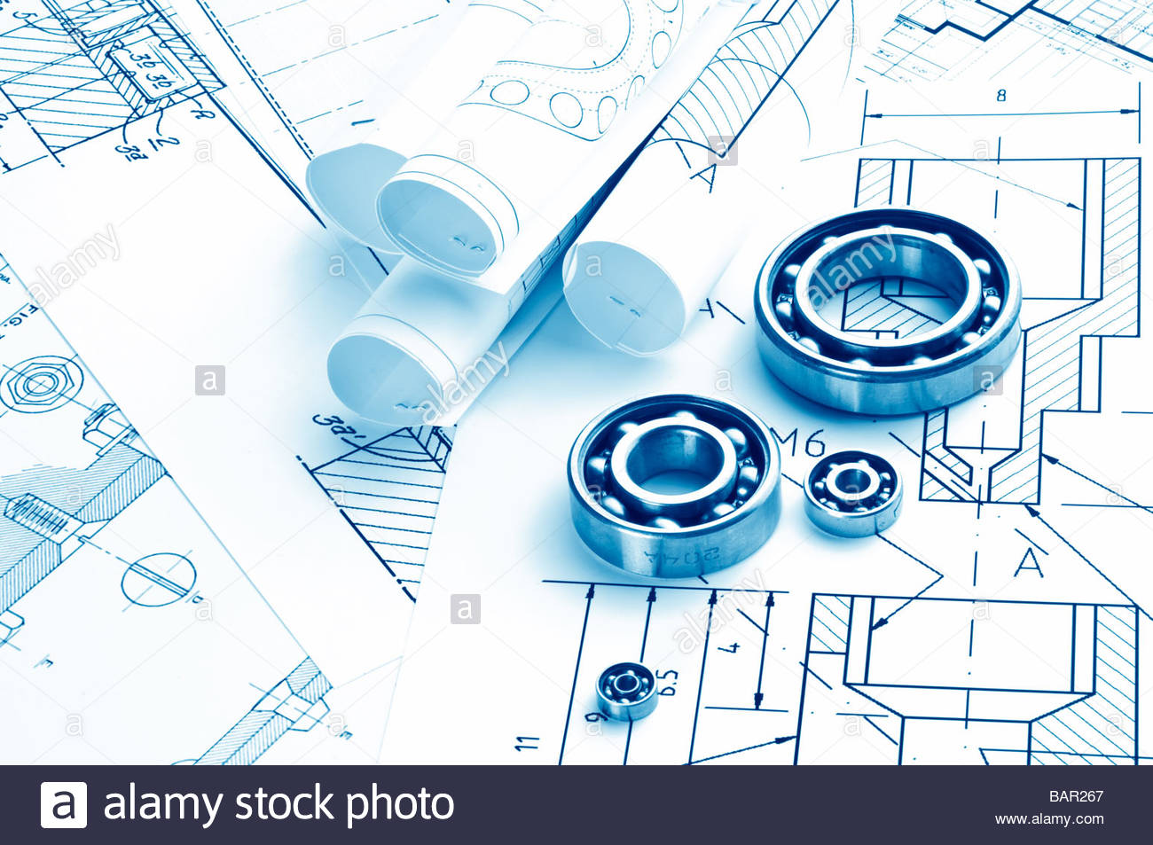 1300x953 Mechanical Drawing And Tools Bearing Stock Photo 23863567