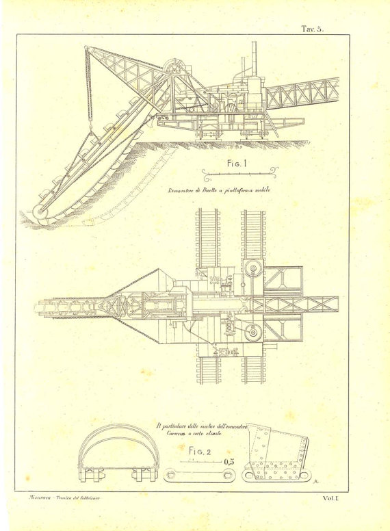 570x776 1900 Technical Drawing Excavator Mechanical By Carambasvintage
