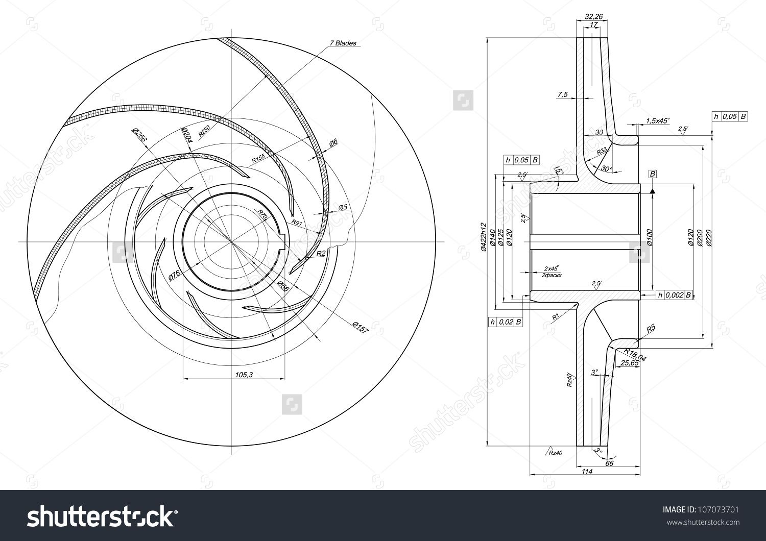1500x1060 Engineering Drawing Of Components. Vector Eps10