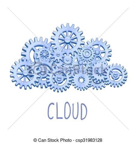 450x470 Mechanical Gears Cloud. Mechanical Cloud Made From Gears Vector
