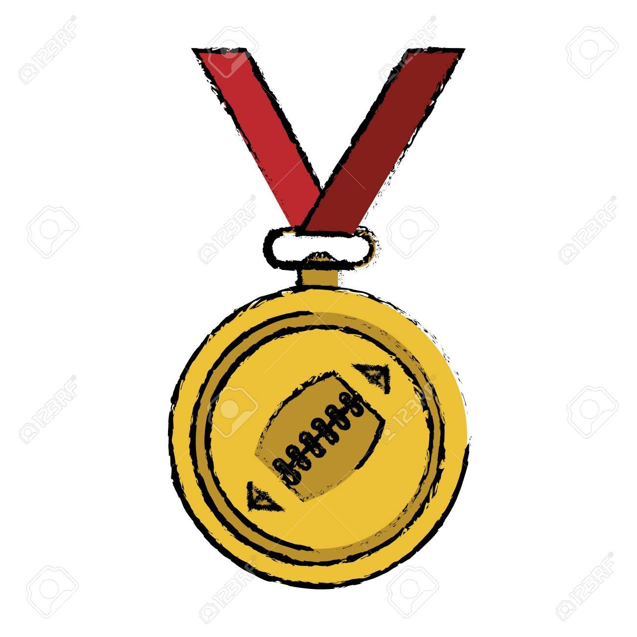 1300x1300 Drawing Sport Medal Ribbon American Football Vector Illustration