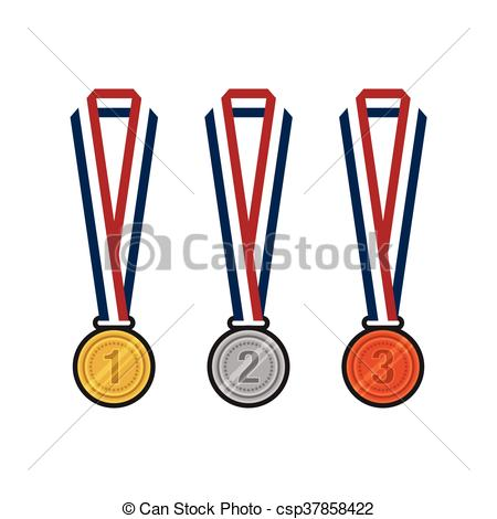 450x470 Gold, Silver, Bronze Medals With Ribbons Flat Design Vector