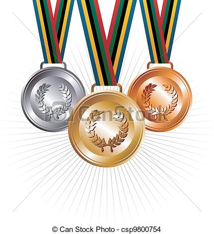 431x470 Gold, Silver And Bronze Medals With Ribbons Background . Eps