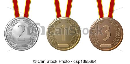 450x224 Set Of Sports Medals Isolated Drawing