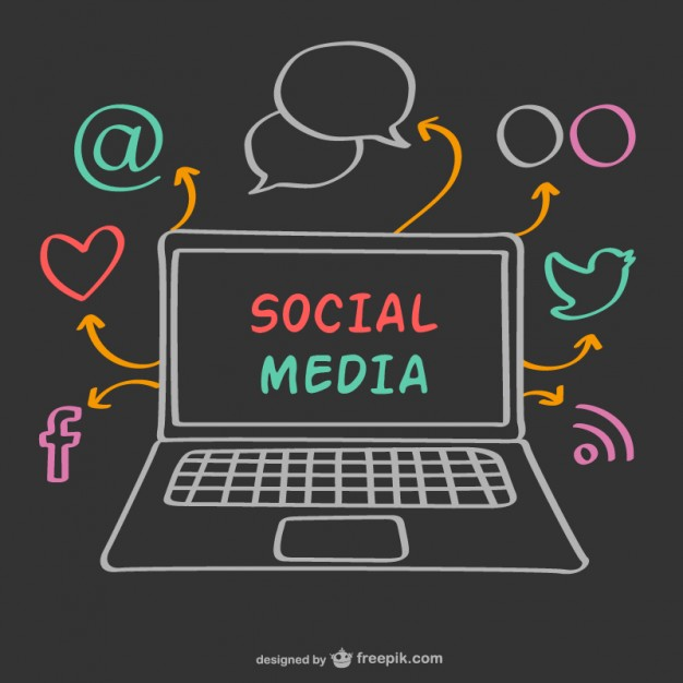 626x626 Chalk Laptop And Social Media Icons Vector Free Download