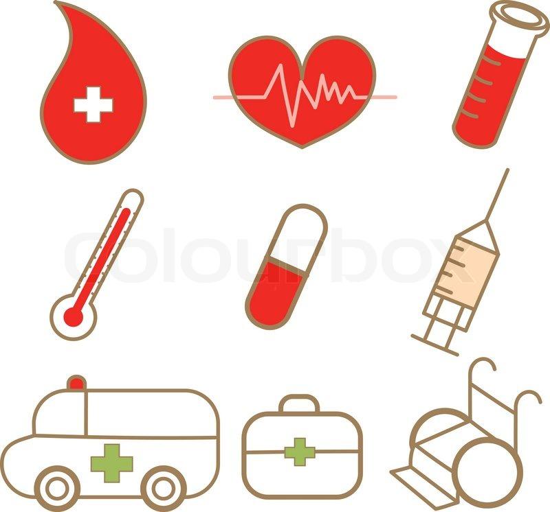 800x746 Cartoon Drawing Of Medical Icon Set Stock Vector Colourbox