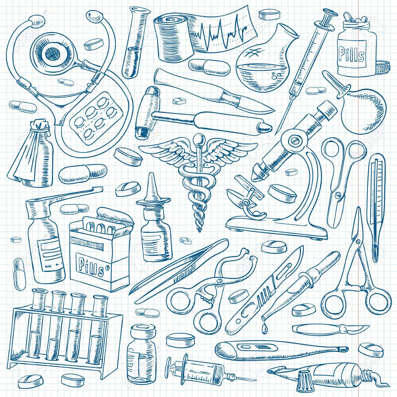 1300x1300 Medical Equipment And Tools In The Freehand Drawing Style. Royalty
