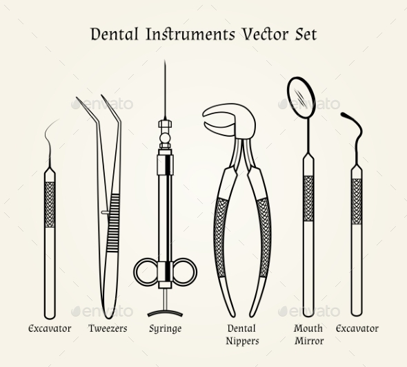 590x531 Vintage Dentist Tools. Medical Equipment In Retro By Neyro2008