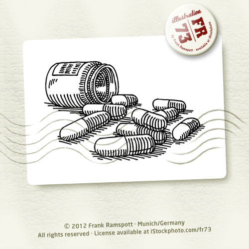 500x500 Bottle Medicine Pills Drawing Vector Illustration. 2012