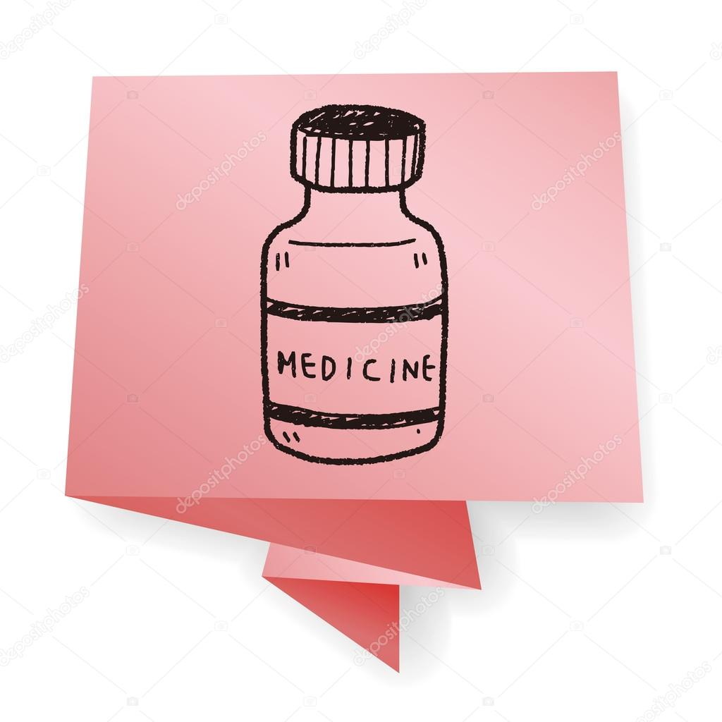 1024x1024 Medicine Bottle Doodle Drawing Vector Illustration Stock Vector